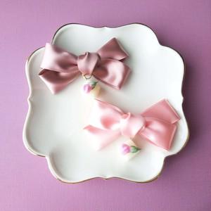 バラの花の砂糖漬け(ピンク) リボンバレッタ