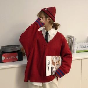 【セットアップ】2点セット学園風ルーズVネックセーター+無地シャツ
