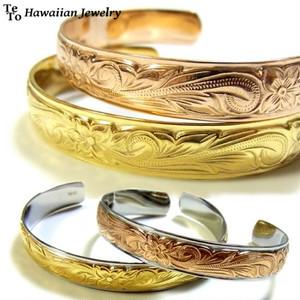 【HawaiianJewelry / ハワイアンジュエリー】 ブレスレット バングル ゴールド プルメリア スクロール ホヌ