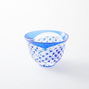 江戸切子 無料包装 送料無料 結婚祝 記念品 退職祝 海外土産 誕生日プレゼント クリスタルガラス冷茶グラス(瑠璃)