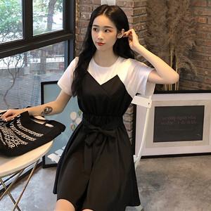 【ワンピース】夏韓国風新作着瘦せ気質良いリボン付き切り替えカジュアルワンピース