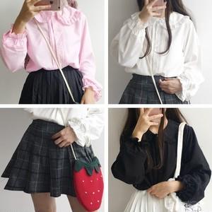【セットアップ】スウィート学園風春秋長袖シャツ+チェック柄スカートセットアップ