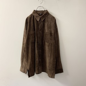 PIG SUEDE レザーシャツ ブラウン size L メンズ 古着