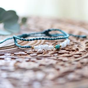 ターコイズとブルーレスアゲイトのマクラメ編み2連ブレスレット(アンクレット)
