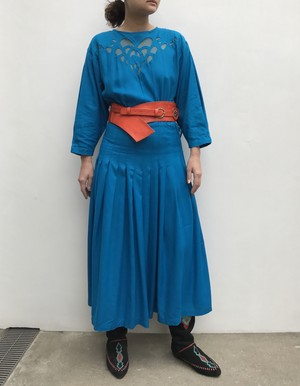 80s blue floral embroidery rayon dress ( ヴィンテージ  ブルー レーヨン ワンピース )
