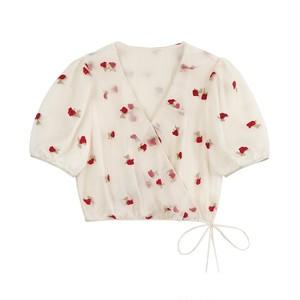 バラの花刺繡ブラウス 1-009