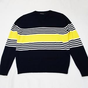 マルチボーダー・Vネックセーター  NAVY