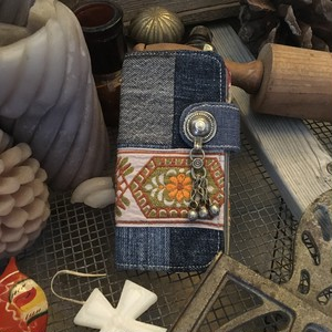 vintage ribbon × denim patchwork iPhoneX case