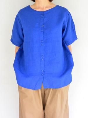 blue willow 平織りリネン2WAYブラウス Blue