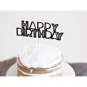 ケーキトッパー(HAPPY BIRTHDAY/ブラック)
