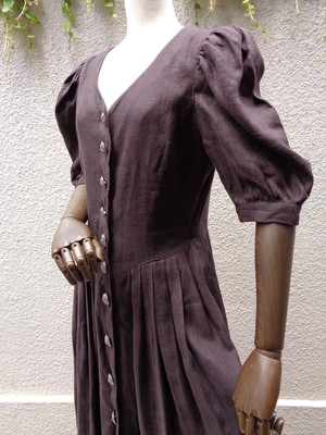 Linen tyrolean dress ダークブラウン リネン チロリアン ワンピース