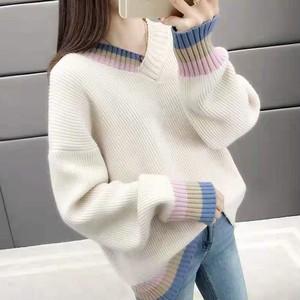【トップス】ファッション秋冬人気合わせやすい配色ランタンスリーブVネックニットセーター24149960
