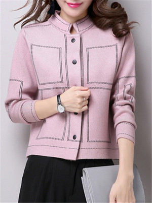 【outer】Knitting long sleeve standing collar cardigan coat