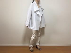 コットン羽織りシャツ(白地にブルーのピンストライプ)