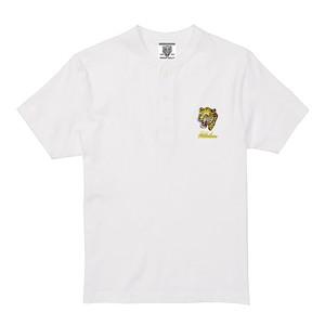 黄色豹刺繍ヘンリーネック白Tシャツ