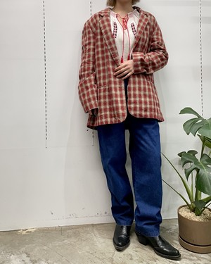 1980s REQUIREMENTS check pattern tailored jacket 【14】