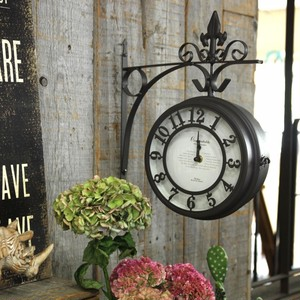 壁掛け両面時計 ブラウン Lサイズ