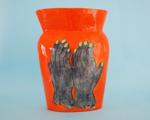 "Imustan 壺《青い手》 Vase ""Blue Hands"" by Imustan"