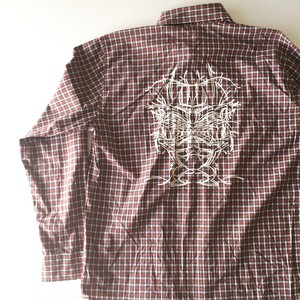 XLARGE : back print check shirt (used)