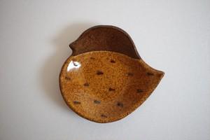 海野仁美|トリ小皿 茶色