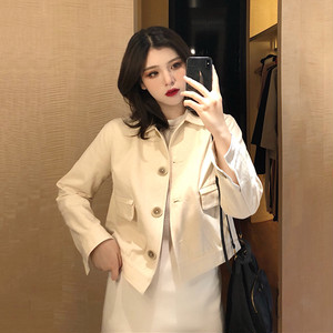 【アウター】無地折り襟長袖シングルブレストスウィートジャケット