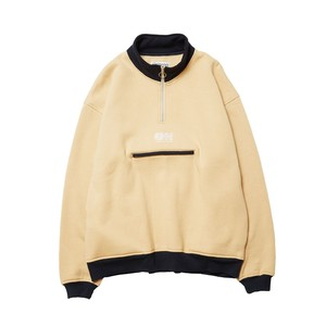 EVISEN ENN HALF ZIP SWEAT BEIGE x NAVY L エビセン スウェット