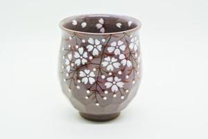 桜湯呑 特大(紫)