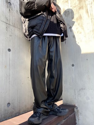【MENS - 1 size】LEATHER JOGGER PANTS / Black