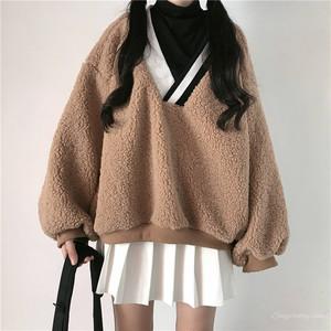 【トップス】2019秋冬韓国系ファッションラムウールハイネックランタンスリーブストライプ柄配色パーカー