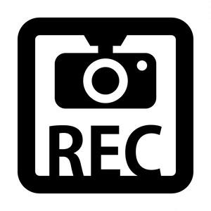 ドラレコ 録画中 撮影中 REC 防犯 セキュリティーマークのカッティング ステッカー・シール