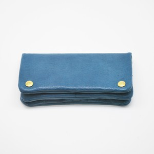 Yezo deer soft wallet tanned blue