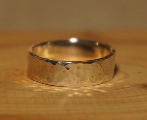 hammer finish silver ring