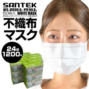 マスク リニューアル 新製品 不織布マスク 50枚24箱セット1200枚 白 自社工場生産 国内発送 耳が痛くなりにくい 使い捨て 花粉・ほこり・ウィルス飛沫・微粒子対策 BFE99.9% PFE99.3%カット 飛沫を防ぐ3層構造 大人用 男女兼用