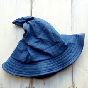 コットン素材とんがり帽子☆デニムブルー ラスト1点 再入荷なし