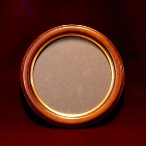 【円形額】 ブラウン×ゴールド 16cm直径