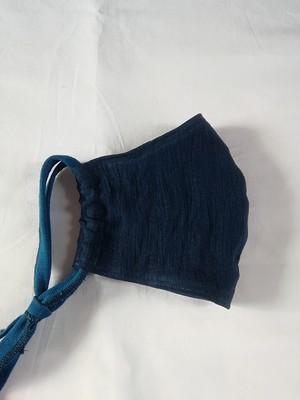 近江のちぢみ麻 夏用両面藍染立体マスク  ジュニア(小さめ)サイズ