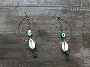 【14kgf】Abalone shell × cowry hoops