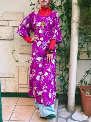 70s purple floral long dress ( ヴィンテージ パープル 花柄 ロング ワンピース )