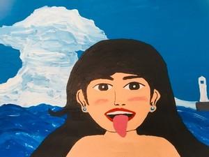 【8/29-9/8期間限定!菊沢将憲最初期絵画展作品】海と女2 310mm×230mm白い額縁付き