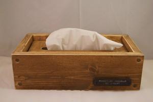 アイアンラベル付木製ティッシュボックス(ティッシュケース)