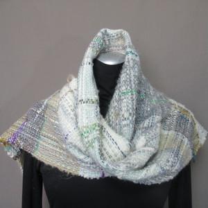 手織り マフラー(白グレー)s20-115
