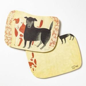 moritaMiW/MiWポストカード/黒犬チョークと赤斑犬のテン
