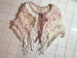 camouflage mohair knit cape PINK