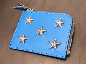 STAR STUDS SHORT ZIP WALLET (TURQUOISE BLUE) / METAL JACKET