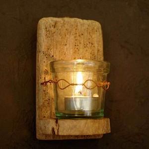 流木のキャンドル壁掛けシェルフ、ガラス器付き-29