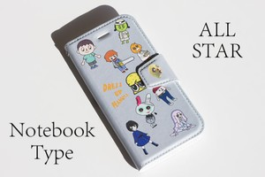 みんな大集合ナッツ! 手帳型 iPhoneケース ーグレーー