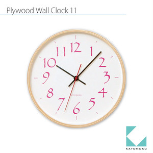 KATOMOKU plywood wall clock 11 km-79P ピンク