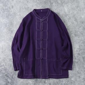 90年代 チャイナシャツ パープル 古着 A588