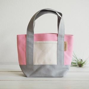 【受注製作】帆布でつくったミニトートバッグ【iroiro_PinkGray】