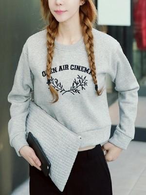 【tops】Loose cotton navel long sleeve sweatshirt